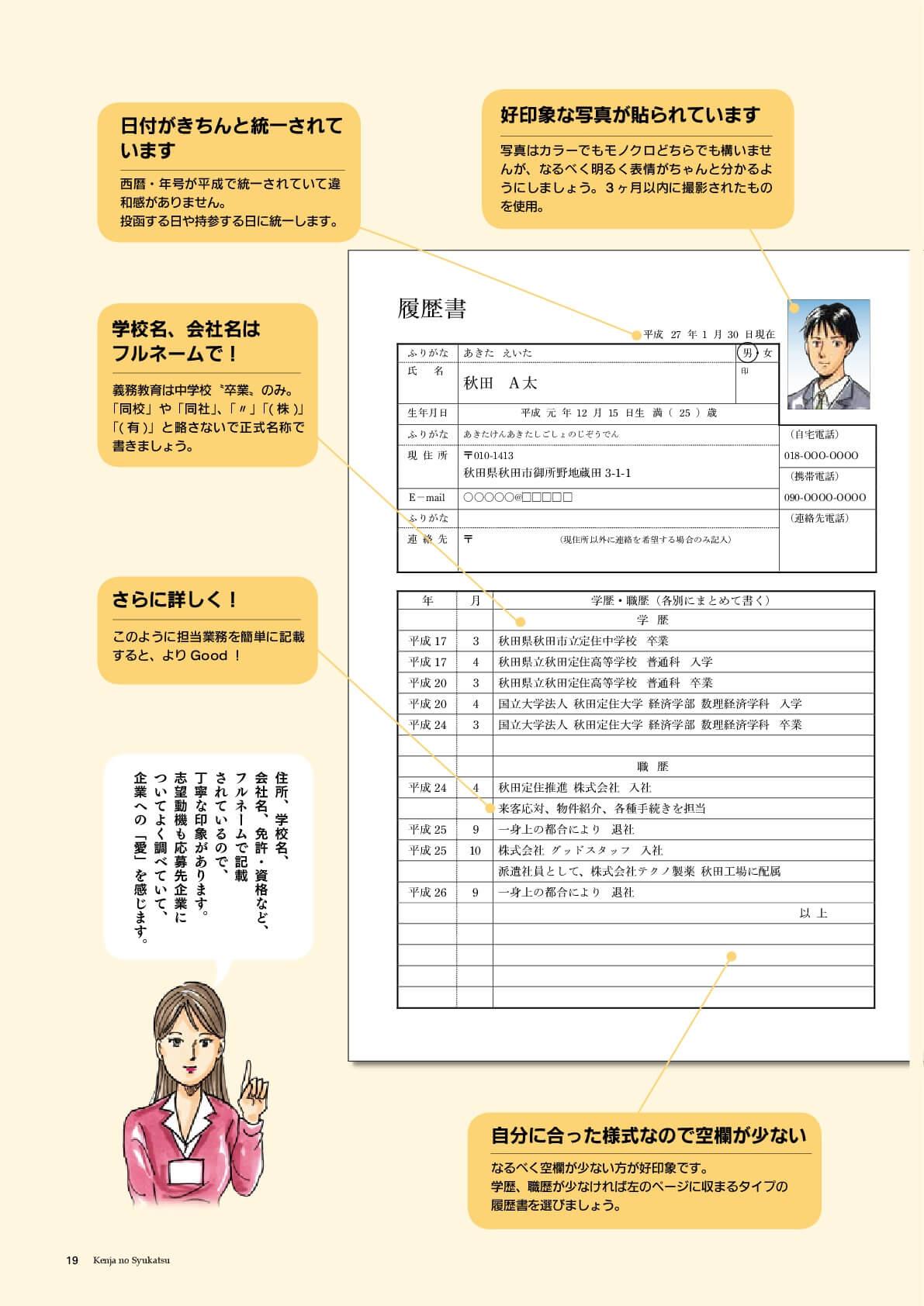 漫画:いい例の履歴書の書き方2